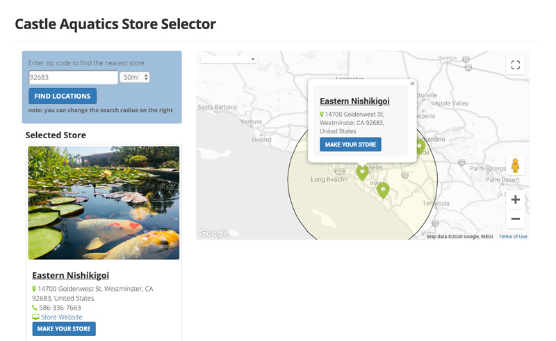 store locator screenshot
